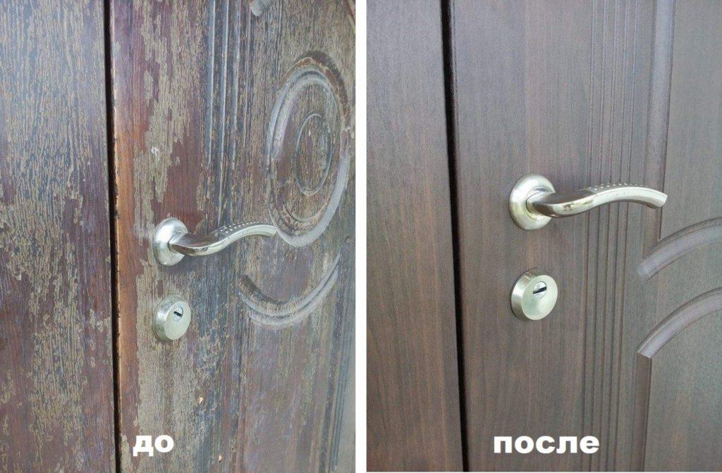 Замена МДФ панелей на железной двери